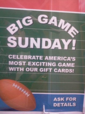 Superbowl Gift cards